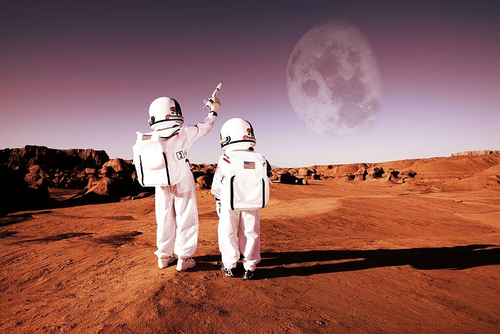 Humans can travel to and from the moon, but cannot return from Mars.